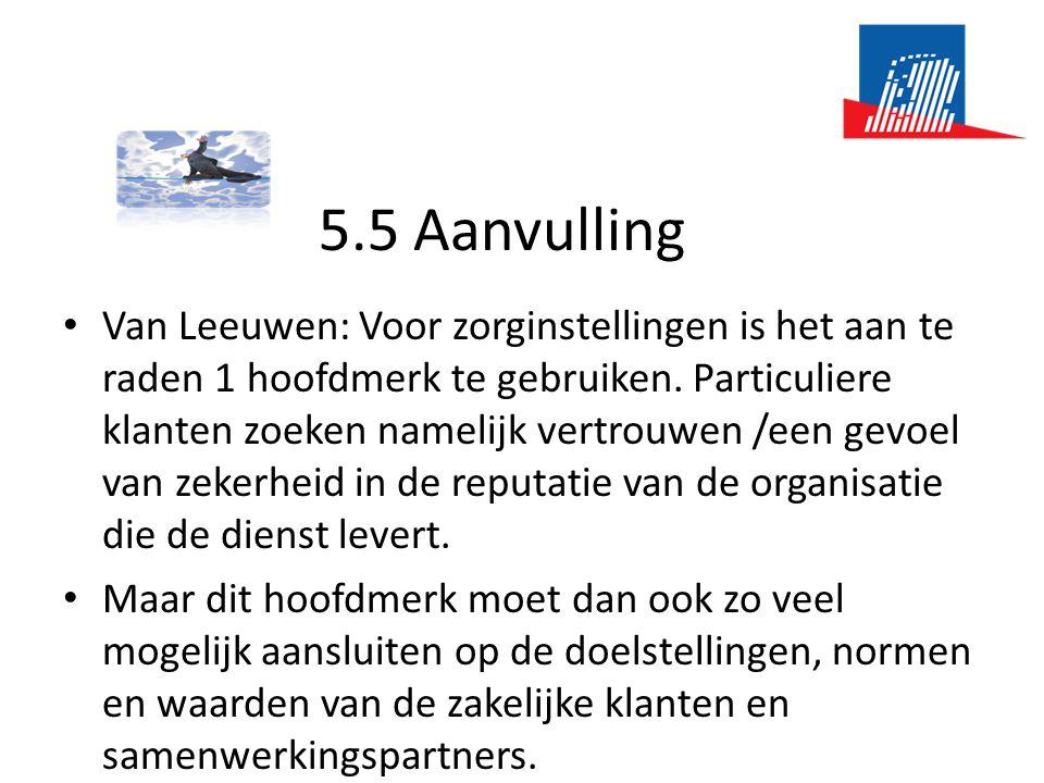5.5 Aanvulling • Van Leeuwen: Voor zorginstellingen is het aan te raden 1 hoofdmerk te gebruiken. Particuliere klanten zoeken namelijk vertrouwen /een