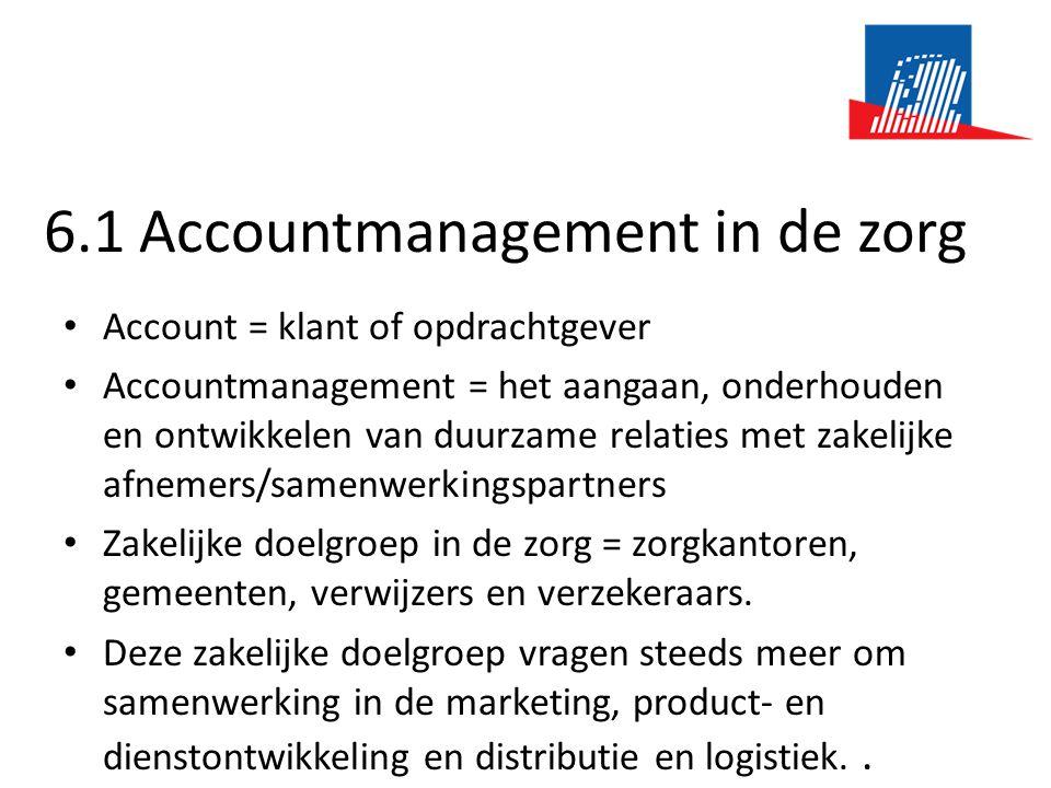 6.1 Accountmanagement in de zorg • Account = klant of opdrachtgever • Accountmanagement = het aangaan, onderhouden en ontwikkelen van duurzame relaties met zakelijke afnemers/samenwerkingspartners • Zakelijke doelgroep in de zorg = zorgkantoren, gemeenten, verwijzers en verzekeraars.