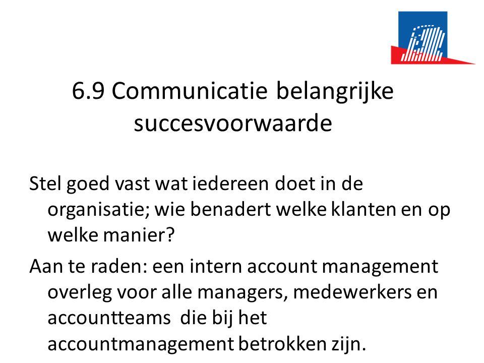 6.9 Communicatie belangrijke succesvoorwaarde Stel goed vast wat iedereen doet in de organisatie; wie benadert welke klanten en op welke manier? Aan t