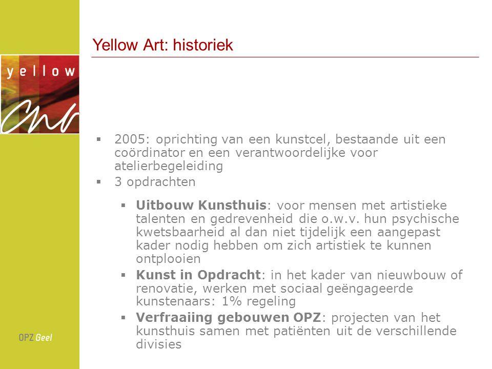  2005: oprichting van een kunstcel, bestaande uit een coördinator en een verantwoordelijke voor atelierbegeleiding  3 opdrachten  Uitbouw Kunsthuis: voor mensen met artistieke talenten en gedrevenheid die o.w.v.