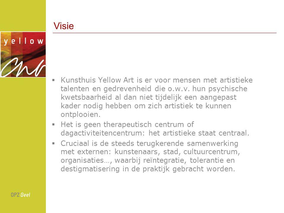 Visie  Kunsthuis Yellow Art is er voor mensen met artistieke talenten en gedrevenheid die o.w.v.