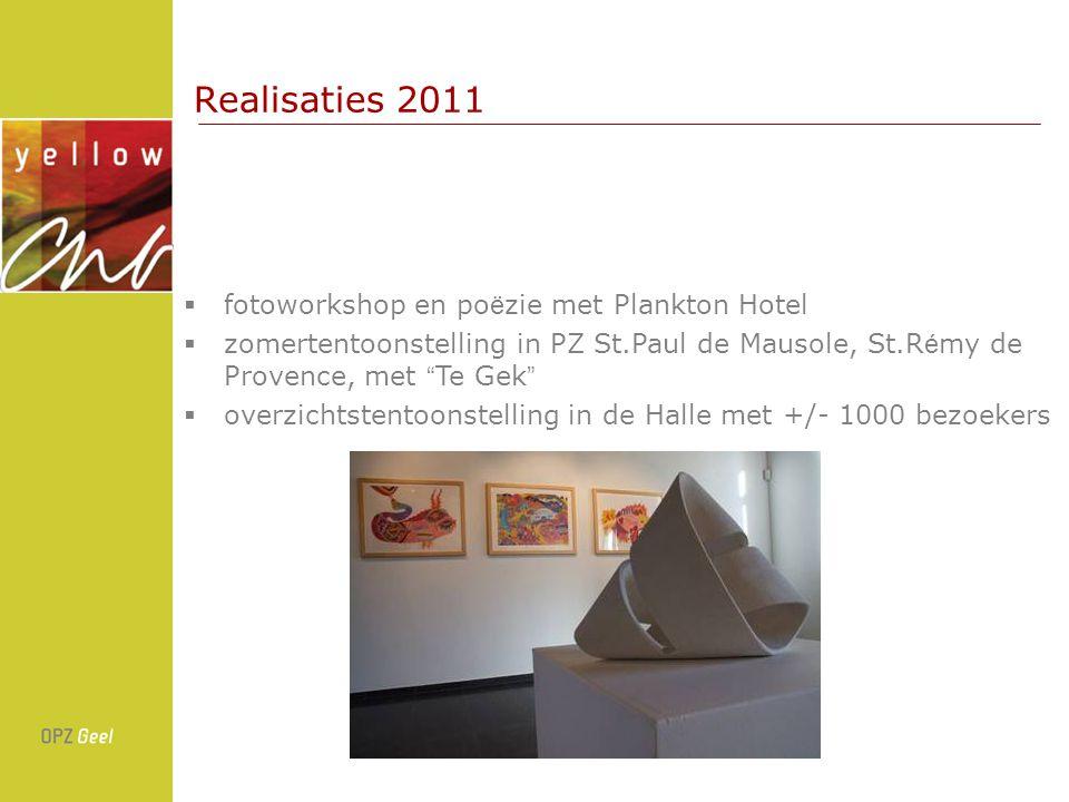 Realisaties 2011  fotoworkshop en po ë zie met Plankton Hotel  zomertentoonstelling in PZ St.Paul de Mausole, St.R é my de Provence, met Te Gek  overzichtstentoonstelling in de Halle met +/- 1000 bezoekers