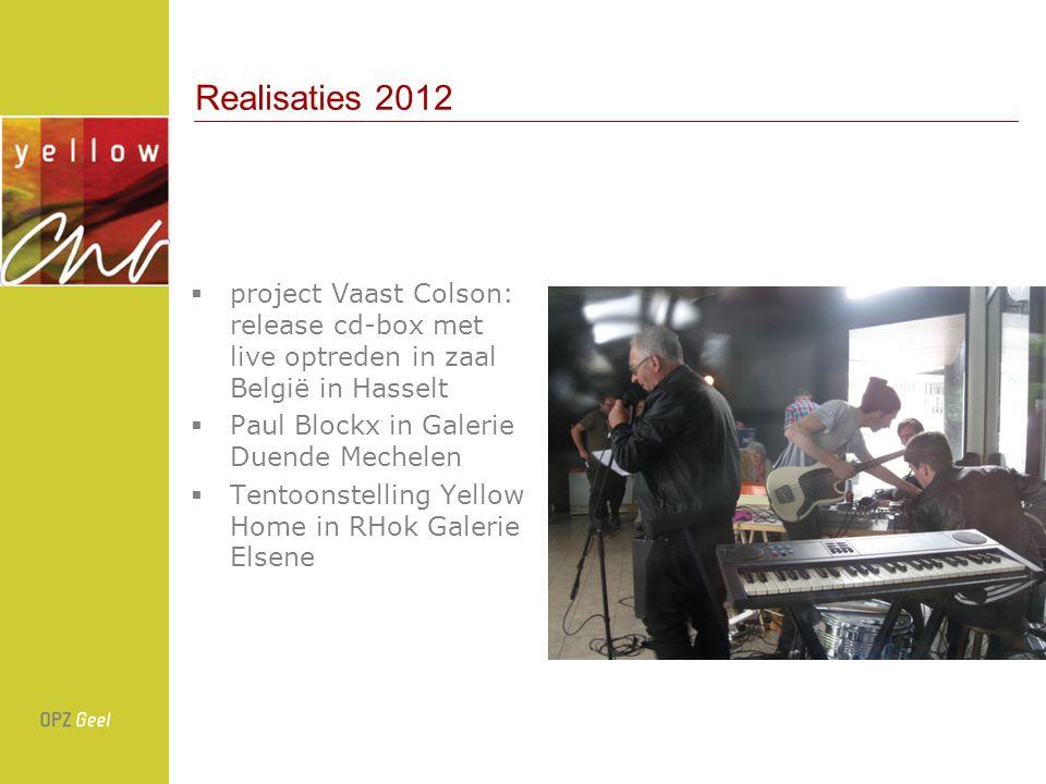 Realisaties 2012  project Vaast Colson: release cd-box met live optreden in zaal België in Hasselt  Paul Blockx in Galerie Duende Mechelen  Tentoonstelling Yellow Home in RHok Galerie Elsene