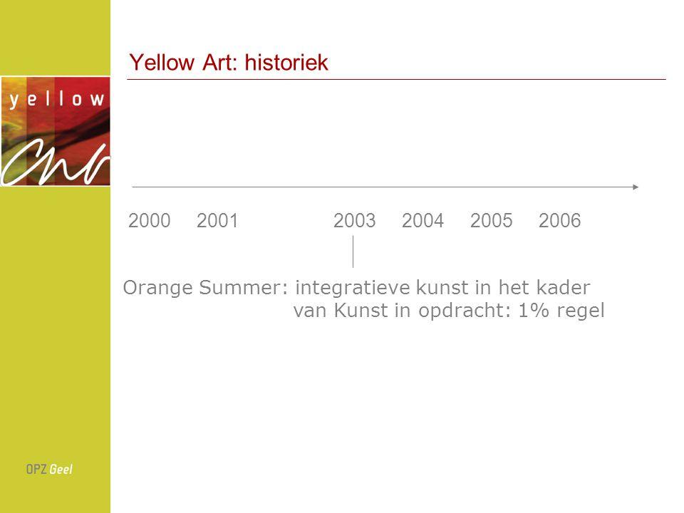Yellow Art: historiek 200020012003200420052006 Orange Summer: integratieve kunst in het kader van Kunst in opdracht: 1% regel