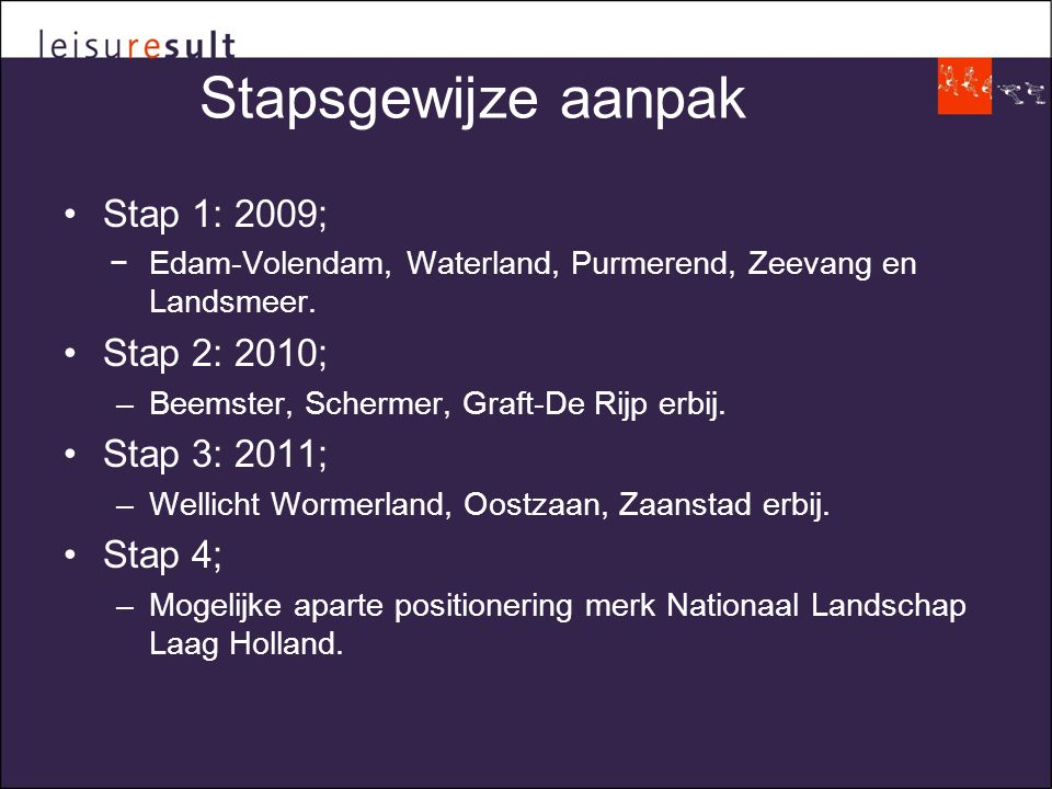 Stapsgewijze aanpak •Stap 1: 2009; −Edam-Volendam, Waterland, Purmerend, Zeevang en Landsmeer.
