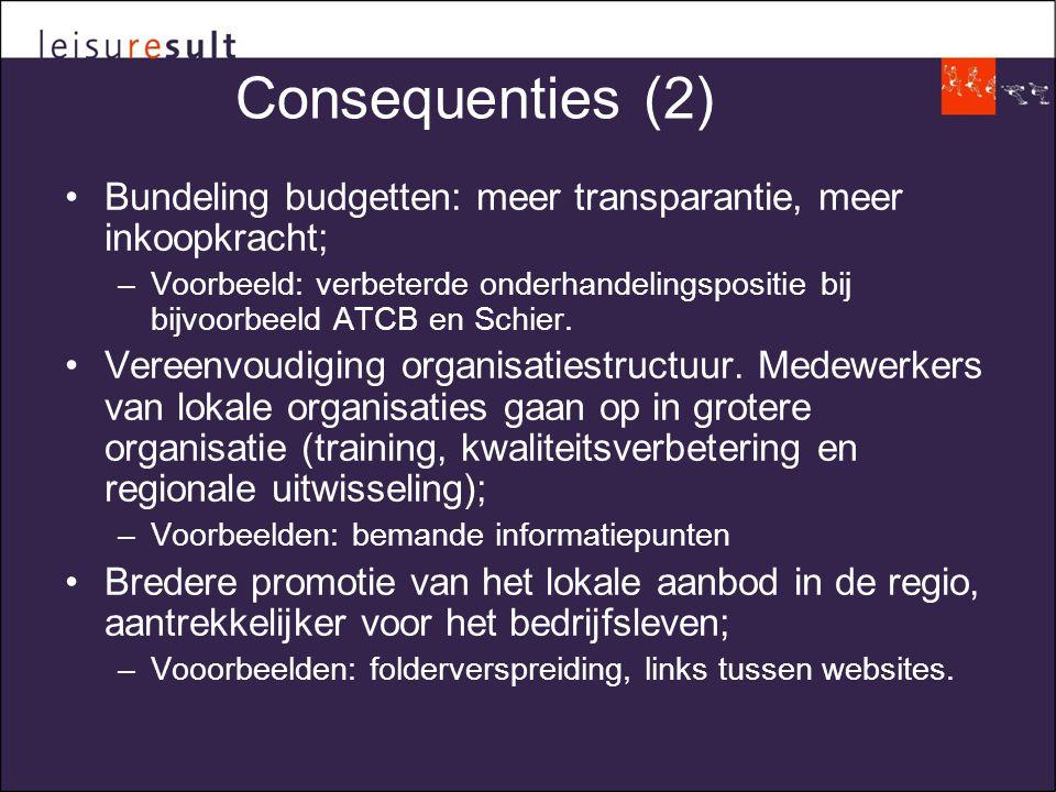 Consequenties (2) •Bundeling budgetten: meer transparantie, meer inkoopkracht; –Voorbeeld: verbeterde onderhandelingspositie bij bijvoorbeeld ATCB en Schier.