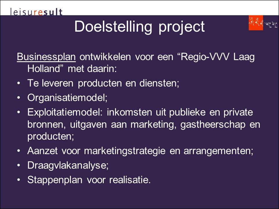 Doelstelling project Businessplan ontwikkelen voor een Regio-VVV Laag Holland met daarin: •Te leveren producten en diensten; •Organisatiemodel; •Exploitatiemodel: inkomsten uit publieke en private bronnen, uitgaven aan marketing, gastheerschap en producten; •Aanzet voor marketingstrategie en arrangementen; •Draagvlakanalyse; •Stappenplan voor realisatie.