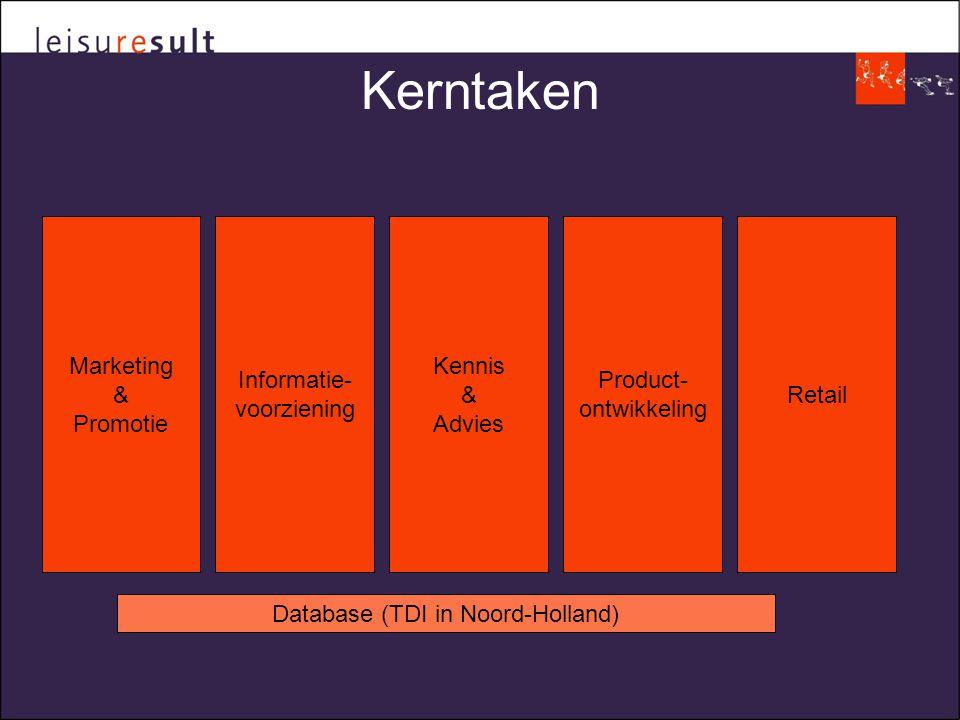 Kerntaken Marketing & Promotie Informatie- voorziening Kennis & Advies Product- ontwikkeling Retail Database (TDI in Noord-Holland)