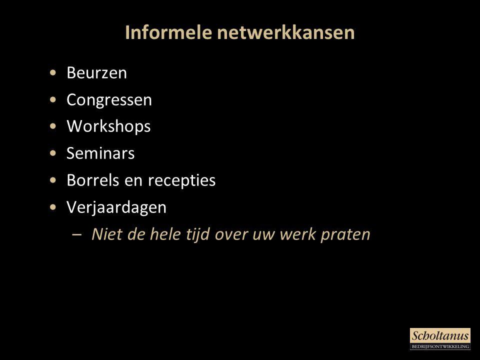 Informele netwerkkansen •Beurzen •Congressen •Workshops •Seminars •Borrels en recepties •Verjaardagen – Niet de hele tijd over uw werk praten