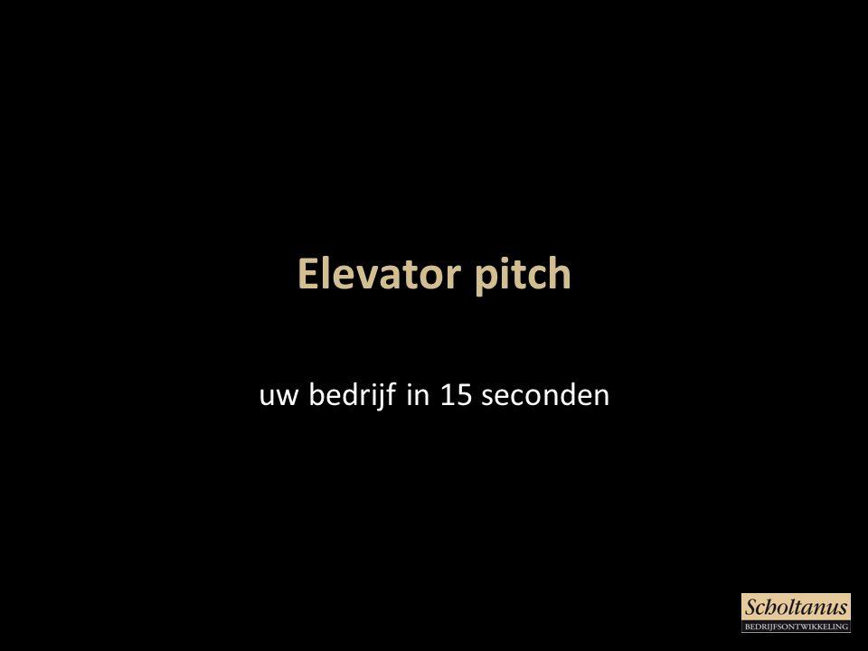 Elevator pitch uw bedrijf in 15 seconden