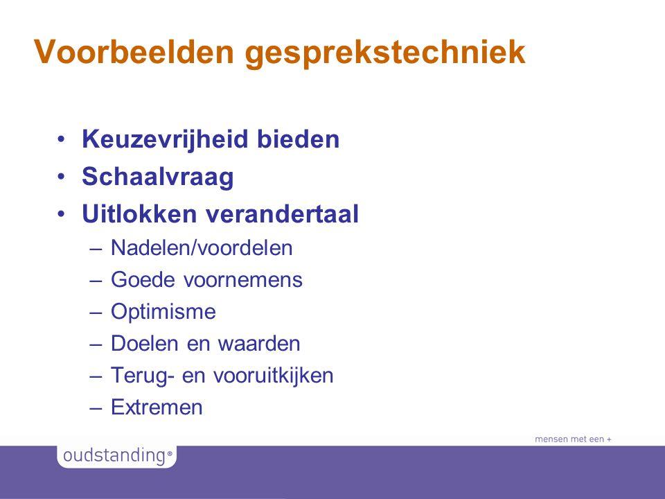 © 2011 SINKSENS|XCHANGE Voorbeelden gesprekstechniek •Keuzevrijheid bieden •Schaalvraag •Uitlokken verandertaal –Nadelen/voordelen –Goede voornemens –Optimisme –Doelen en waarden –Terug- en vooruitkijken –Extremen