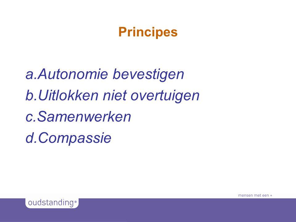 © 2011 SINKSENS|XCHANGE Principes a.Autonomie bevestigen b.Uitlokken niet overtuigen c.Samenwerken d.Compassie