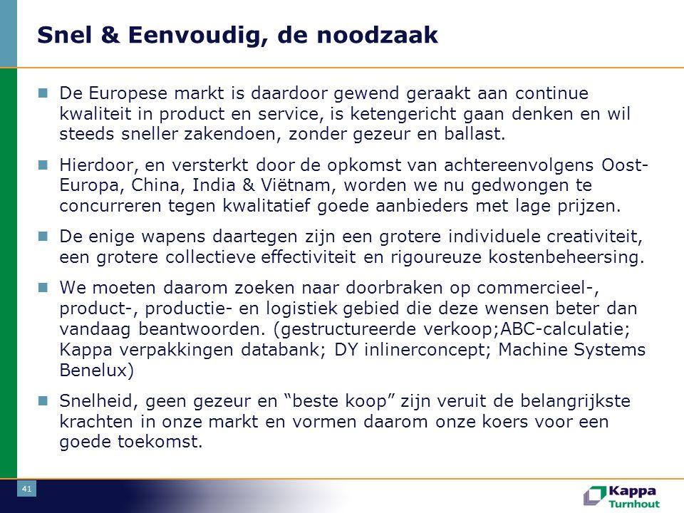 41 Snel & Eenvoudig, de noodzaak  De Europese markt is daardoor gewend geraakt aan continue kwaliteit in product en service, is ketengericht gaan denken en wil steeds sneller zakendoen, zonder gezeur en ballast.
