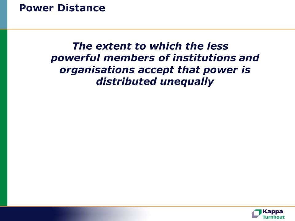 Power Distance The extent to which the less powerful members of institutions and organisations accept that power is distributed unequally