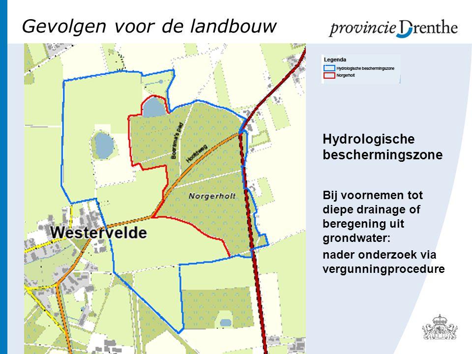 Gevolgen voor de landbouw Hydrologische beschermingszone Bij voornemen tot diepe drainage of beregening uit grondwater: nader onderzoek via vergunningprocedure