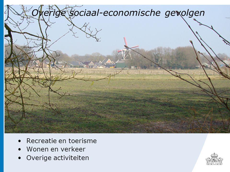 Overige sociaal-economische gevolgen •Recreatie en toerisme •Wonen en verkeer •Overige activiteiten