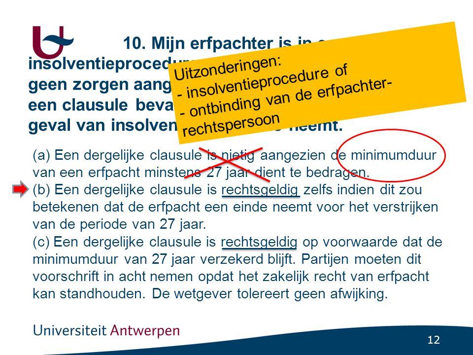 12 10. Mijn erfpachter is in een insolventieprocedure verwikkeld. Ik maak mij geen zorgen aangezien de erfpachtovereenkomst een clausule bevat die ste