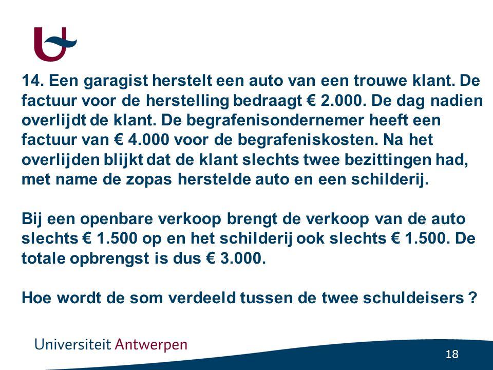 18 14. Een garagist herstelt een auto van een trouwe klant. De factuur voor de herstelling bedraagt € 2.000. De dag nadien overlijdt de klant. De begr