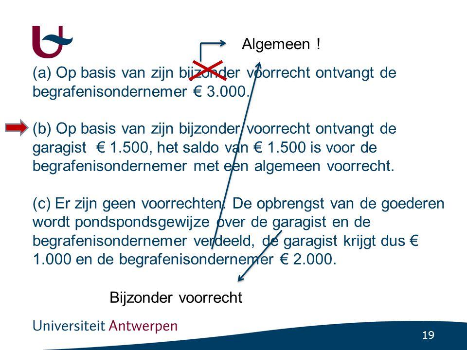 19 (a) Op basis van zijn bijzonder voorrecht ontvangt de begrafenisondernemer € 3.000. (b) Op basis van zijn bijzonder voorrecht ontvangt de garagist