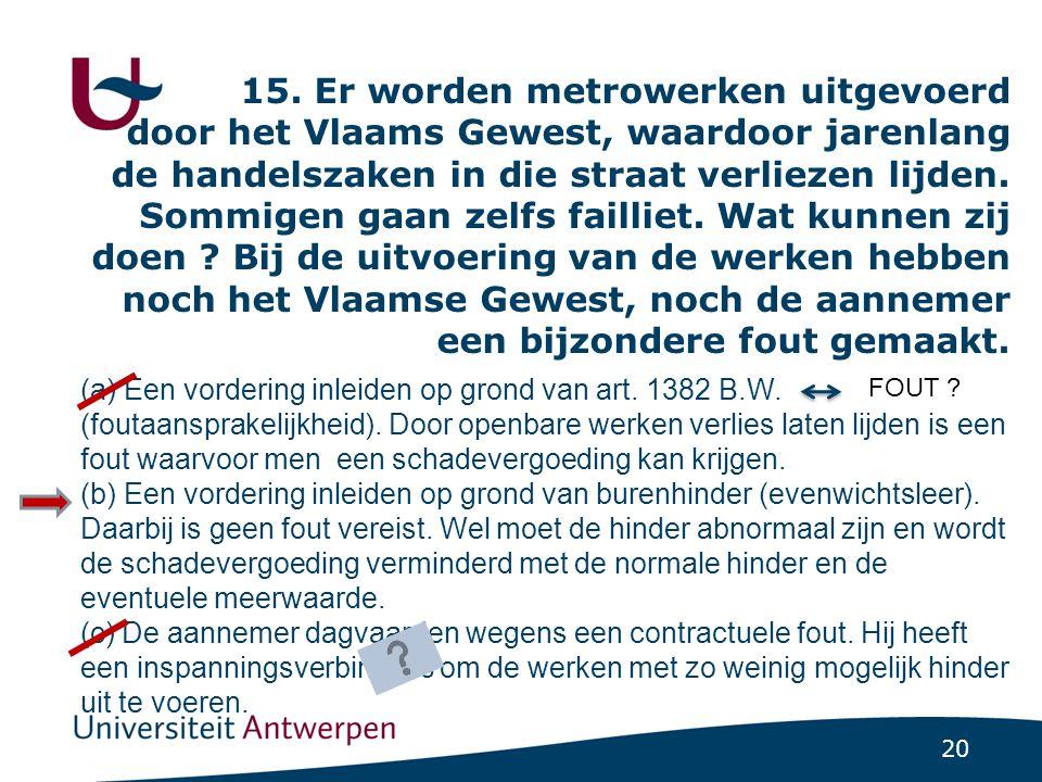 20 15. Er worden metrowerken uitgevoerd door het Vlaams Gewest, waardoor jarenlang de handelszaken in die straat verliezen lijden. Sommigen gaan zelfs