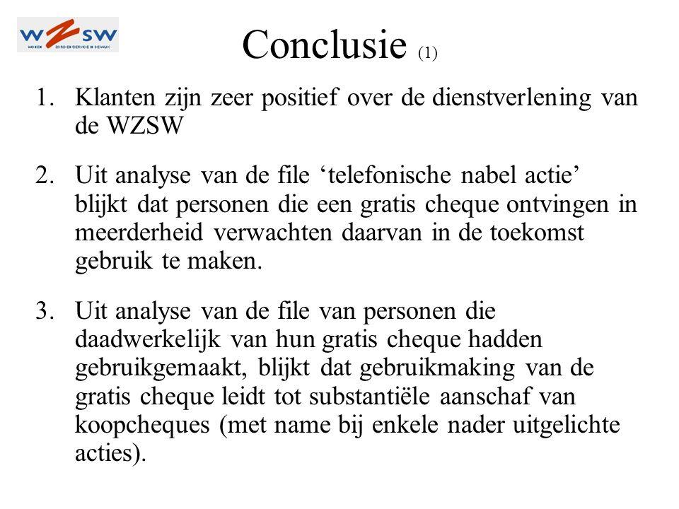 Conclusie (2) 4.De conclusie lijkt daarom gerechtvaardigd dat de verstrekking van gratis cheques – zeker bij bepaalde doelgroepen – leidt tot verkoop van koopcheques.