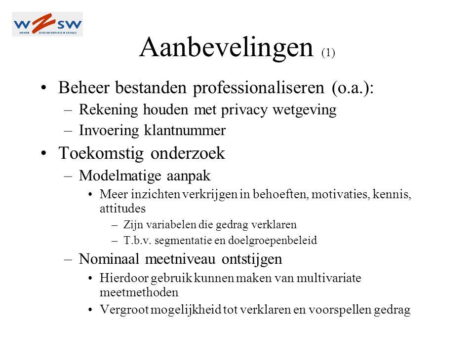 Aanbevelingen (1) •Beheer bestanden professionaliseren (o.a.): –Rekening houden met privacy wetgeving –Invoering klantnummer •Toekomstig onderzoek –Modelmatige aanpak •Meer inzichten verkrijgen in behoeften, motivaties, kennis, attitudes –Zijn variabelen die gedrag verklaren –T.b.v.