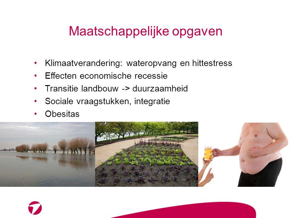 Maatschappelijke opgaven •Klimaatverandering: wateropvang en hittestress •Effecten economische recessie •Transitie landbouw -> duurzaamheid •Sociale v