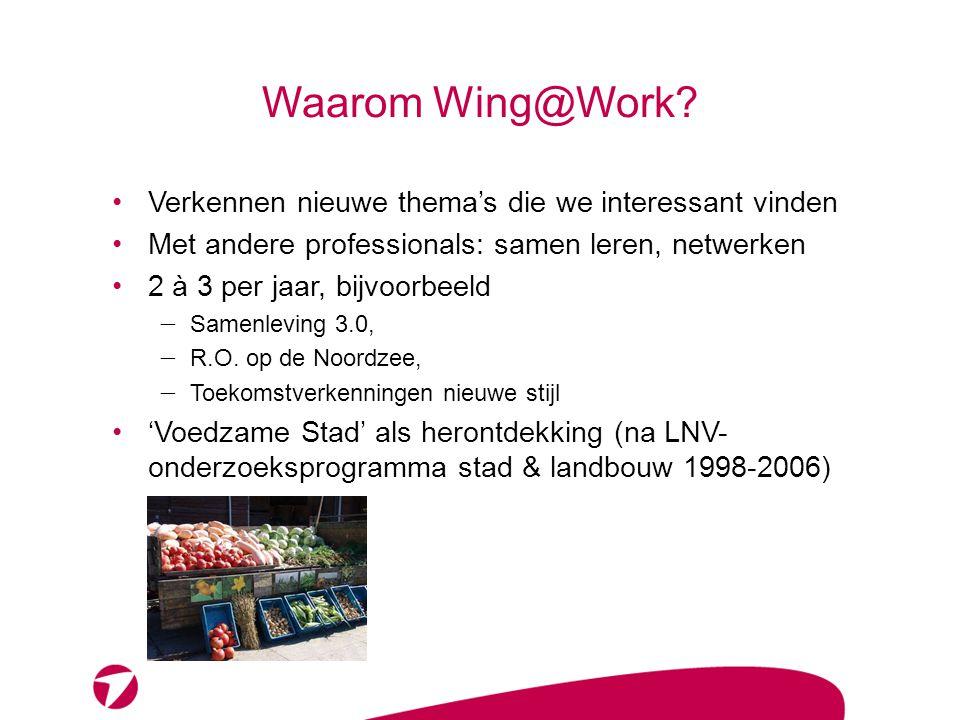 Waarom Wing@Work? •Verkennen nieuwe thema's die we interessant vinden •Met andere professionals: samen leren, netwerken •2 à 3 per jaar, bijvoorbeeld