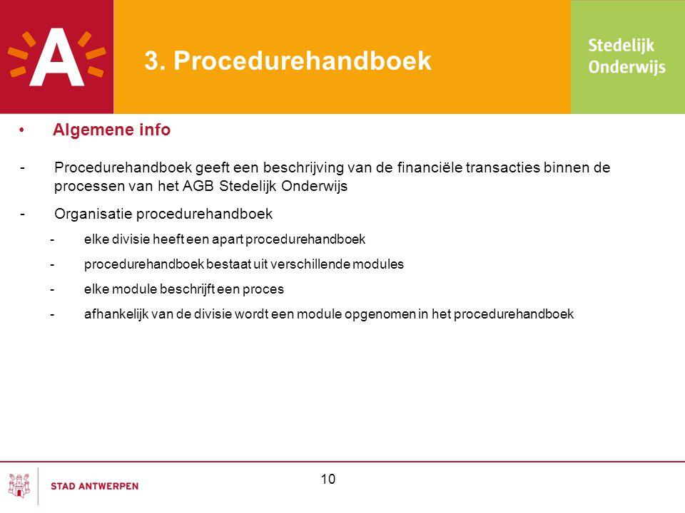 10 3. Procedurehandboek -Procedurehandboek geeft een beschrijving van de financiële transacties binnen de processen van het AGB Stedelijk Onderwijs -O