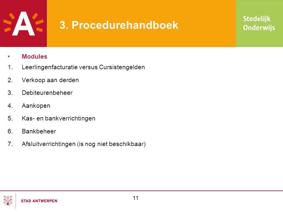 3. Procedurehandboek •Modules 1.Leerlingenfacturatie versus Cursistengelden 2.Verkoop aan derden 3.Debiteurenbeheer 4.Aankopen 5.Kas- en bankverrichti