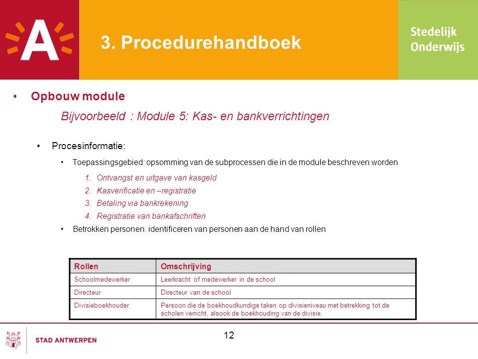 3. Procedurehandboek •Opbouw module Bijvoorbeeld : Module 5: Kas- en bankverrichtingen •Procesinformatie: •Toepassingsgebied: opsomming van de subproc