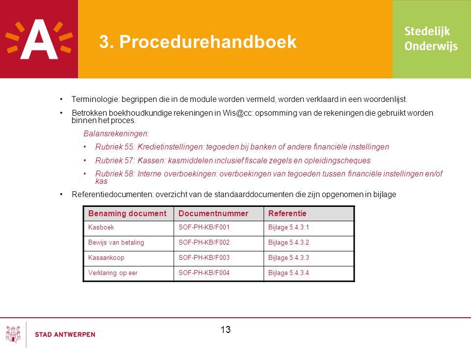 3. Procedurehandboek •Terminologie: begrippen die in de module worden vermeld, worden verklaard in een woordenlijst. •Betrokken boekhoudkundige rekeni