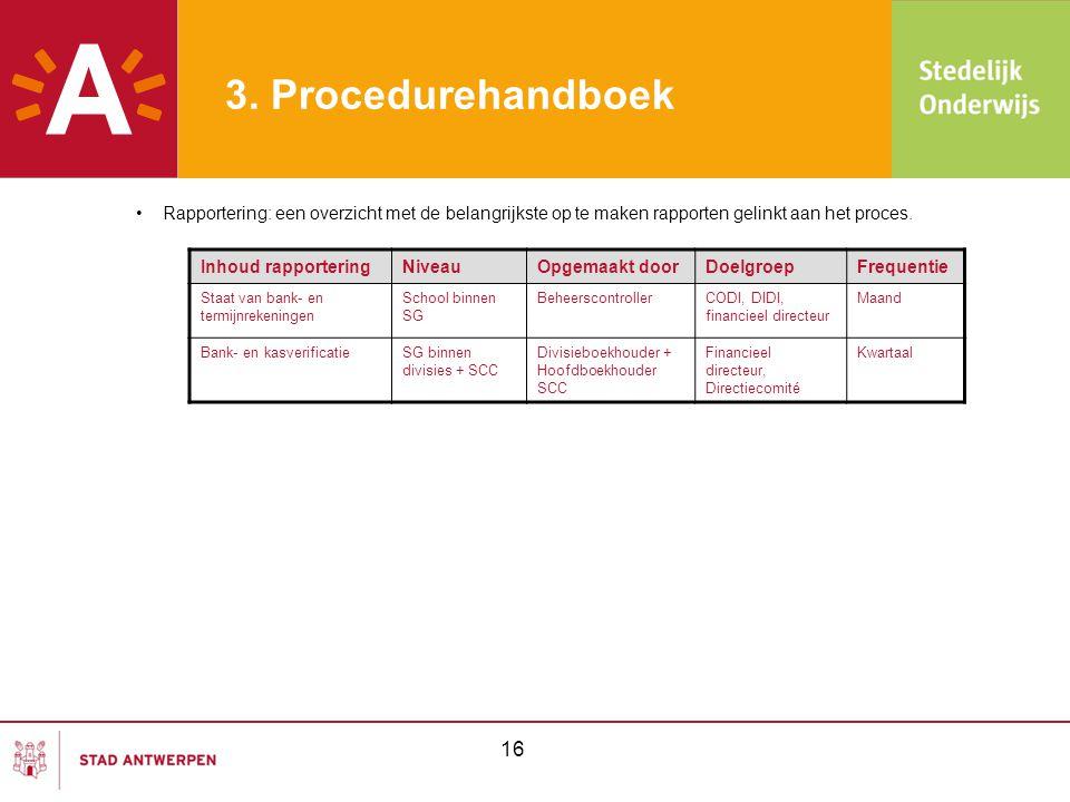 3. Procedurehandboek •Rapportering: een overzicht met de belangrijkste op te maken rapporten gelinkt aan het proces. Inhoud rapporteringNiveauOpgemaak