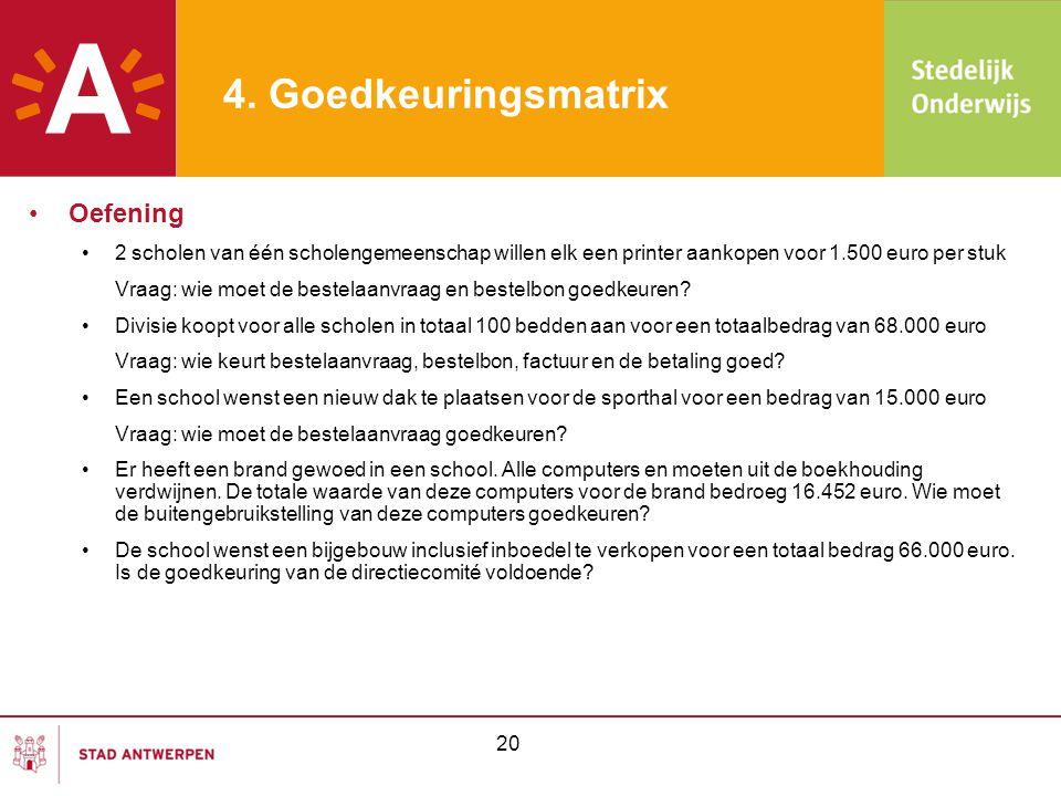 4. Goedkeuringsmatrix •Oefening •2 scholen van één scholengemeenschap willen elk een printer aankopen voor 1.500 euro per stuk Vraag: wie moet de best