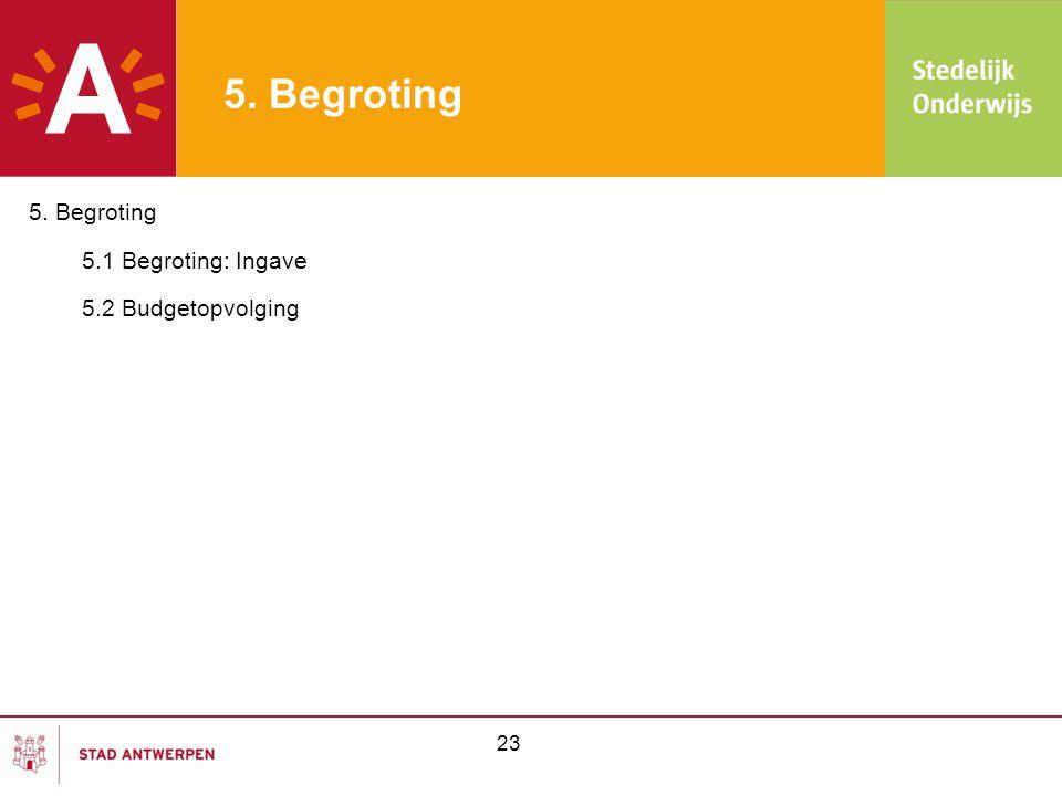 24 5.1Begroting: Ingave Begroting kan op verschillende momenten wijzigen: -begrotingsopmaak (oktober) -begrotingswijziging (juni) -begrotingsaanpassing (maart en oktober) => elke aanpassing of wijziging van de budgetten moet doorgevoerd worden in Wis@cc