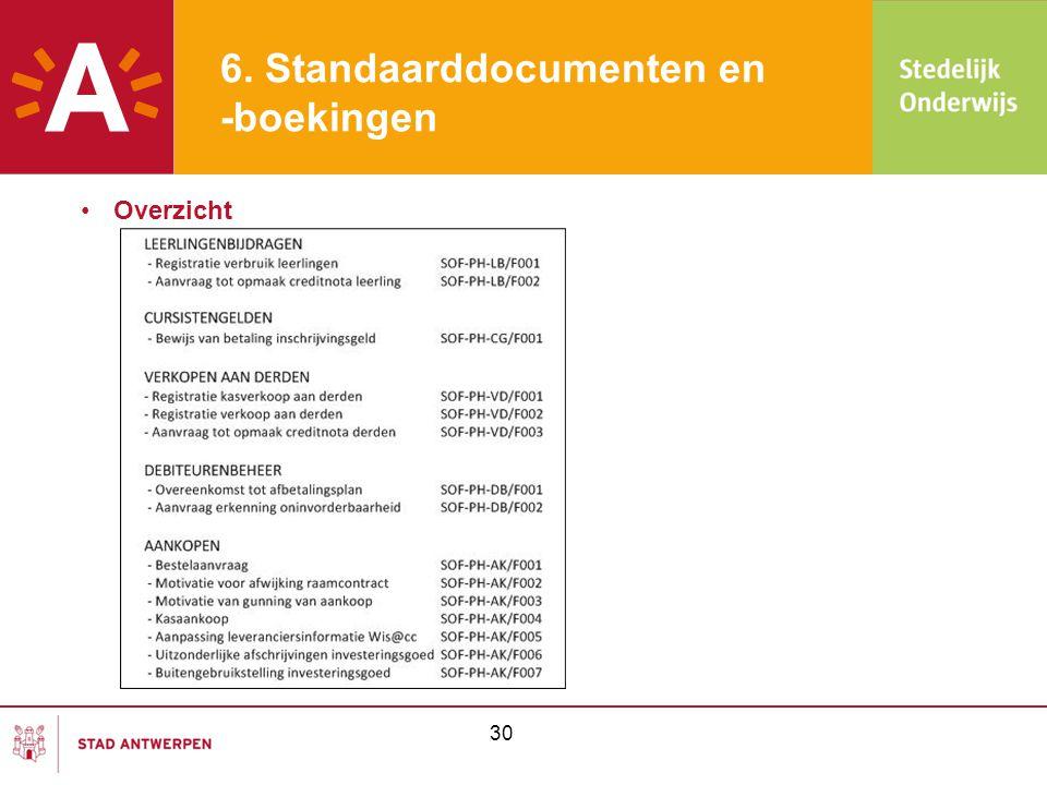 6. Standaarddocumenten en -boekingen •Overzicht 30
