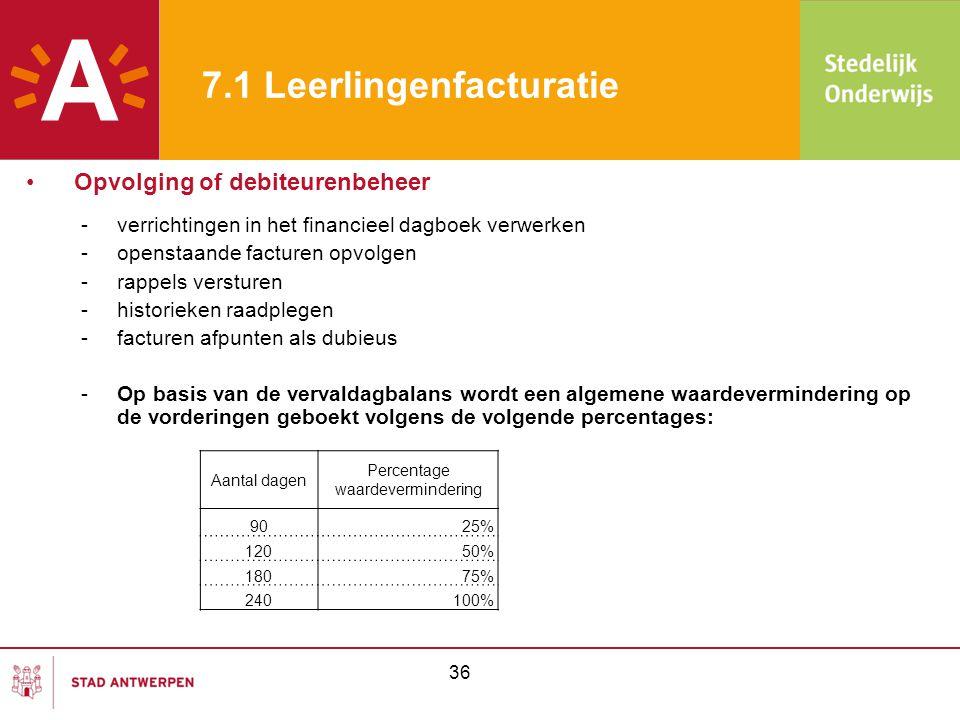 36 7.1 Leerlingenfacturatie -verrichtingen in het financieel dagboek verwerken -openstaande facturen opvolgen -rappels versturen -historieken raadpleg