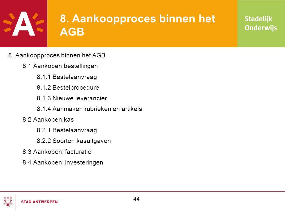 44 8. Aankoopproces binnen het AGB 8.1 Aankopen:bestellingen 8.1.1 Bestelaanvraag 8.1.2 Bestelprocedure 8.1.3 Nieuwe leverancier 8.1.4 Aanmaken rubrie