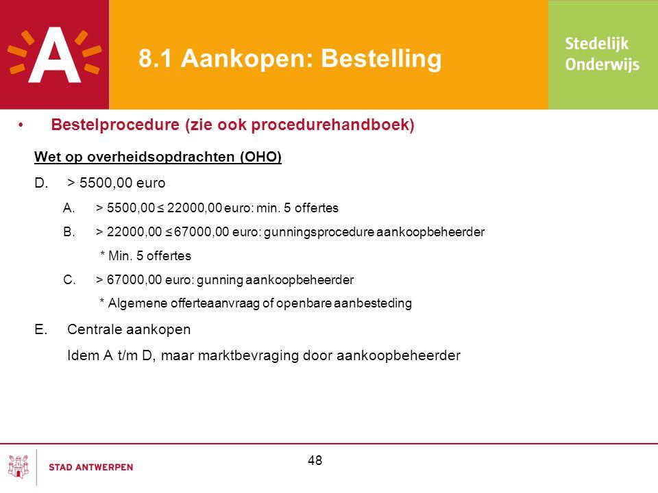 48 8.1 Aankopen: Bestelling Wet op overheidsopdrachten (OHO) D.> 5500,00 euro A.> 5500,00 ≤ 22000,00 euro: min. 5 offertes B.> 22000,00 ≤ 67000,00 eur