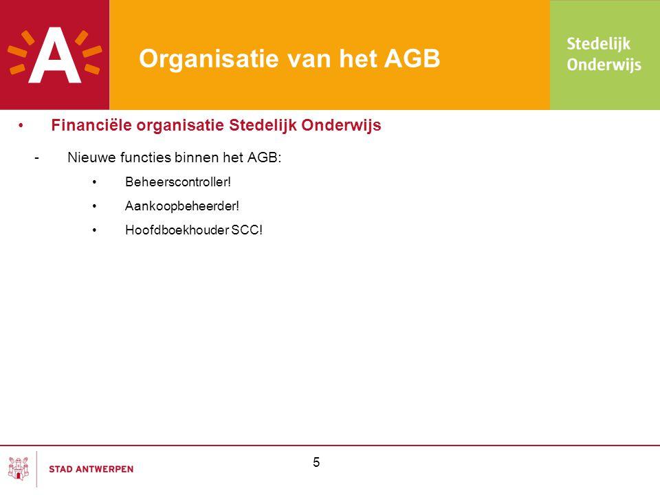 5 Organisatie van het AGB •Financiële organisatie Stedelijk Onderwijs -Nieuwe functies binnen het AGB: •Beheerscontroller! •Aankoopbeheerder! •Hoofdbo