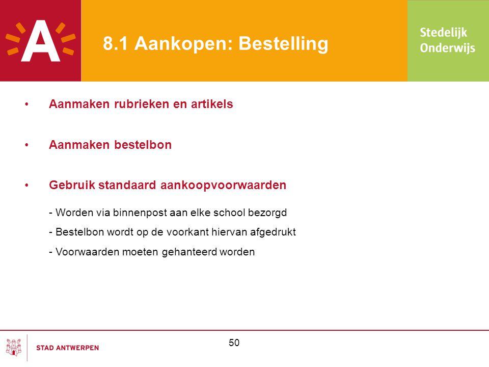 51 8.2 Aankopen: Kas -Kasuitgaven beperkt tot 125,00 euro  geen bestelbon nodig -Invullen formulier bestelaanvraag (zie bijlage) -Goedkeuring bestelaanvraag cfr goedkeuringsmatrix -Budget en aankoop in orde: goed/dienst kan besteld worden -Budget ontoereikend: indien aankoop noodzakelijk, formele goedkeuring (bijlage 1) -Aankoop niet noodzakelijk:geen aankoop mogelijk •Bestelaanvraag