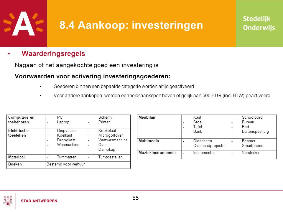 55 8.4 Aankoop: investeringen Nagaan of het aangekochte goed een investering is Voorwaarden voor activering investeringsgoederen: •Goederen binnen een