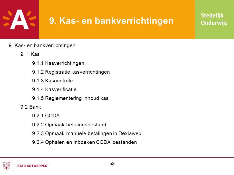 58 9. Kas- en bankverrichtingen 9. 1 Kas 9.1.1 Kasverrichtingen 9.1.2 Registratie kasverrichtingen 9.1.3 Kascontrole 9.1.4 Kasverificatie 9.1.5 Reglem