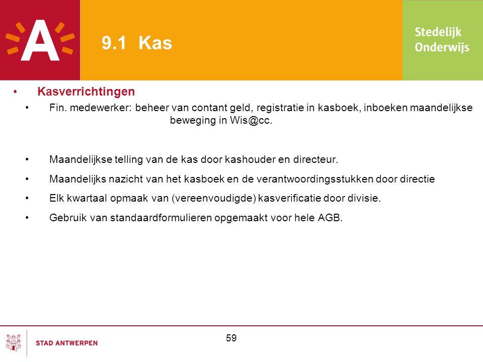 59 9.1 Kas •Fin. medewerker: beheer van contant geld, registratie in kasboek, inboeken maandelijkse beweging in Wis@cc. •Maandelijkse telling van de k