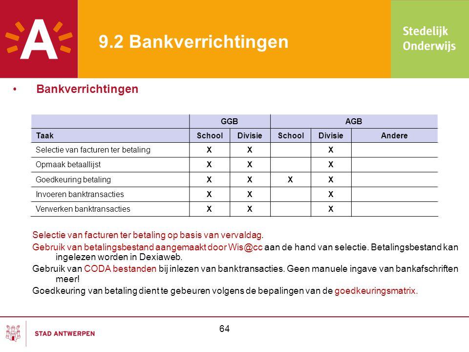 64 9.2 Bankverrichtingen Selectie van facturen ter betaling op basis van vervaldag. Gebruik van betalingsbestand aangemaakt door Wis@cc aan de hand va