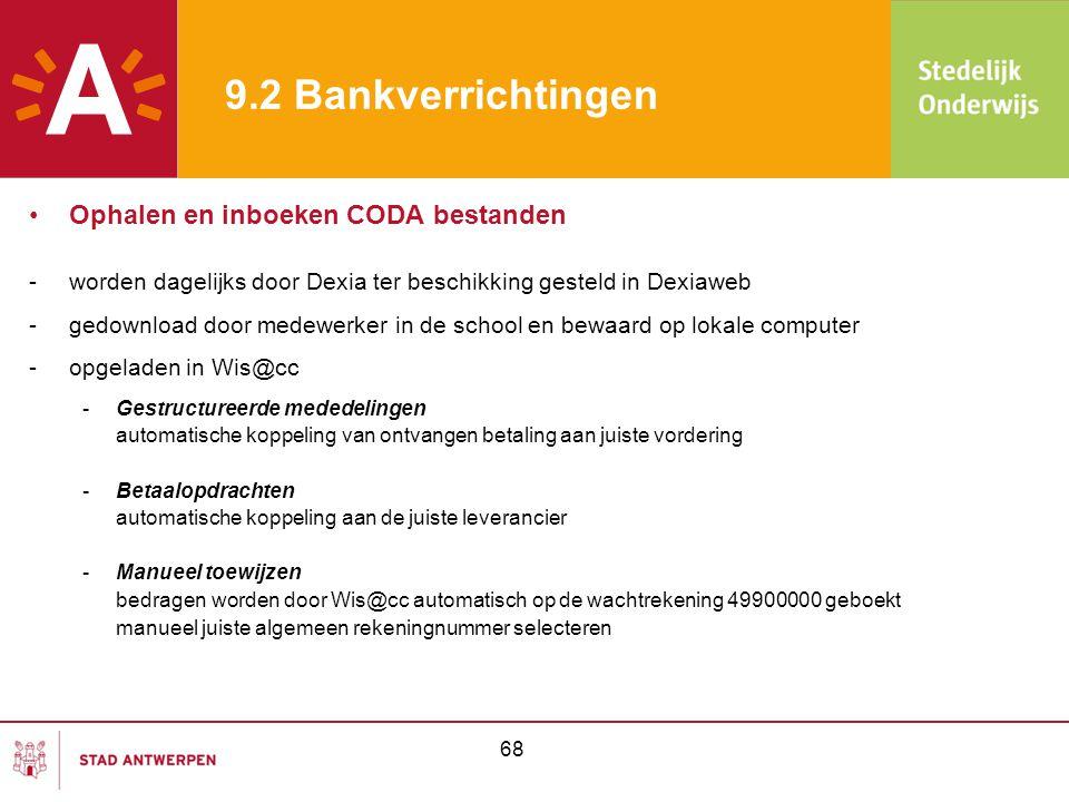 9.2 Bankverrichtingen •Ophalen en inboeken CODA bestanden -worden dagelijks door Dexia ter beschikking gesteld in Dexiaweb -gedownload door medewerker