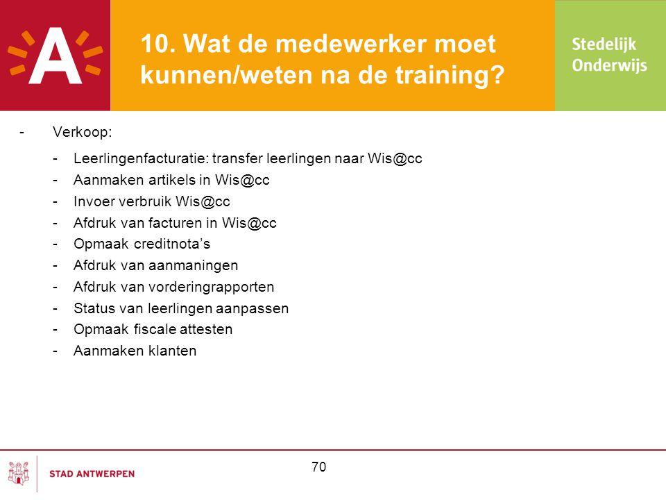 70 10. Wat de medewerker moet kunnen/weten na de training? -Verkoop: -Leerlingenfacturatie: transfer leerlingen naar Wis@cc -Aanmaken artikels in Wis@