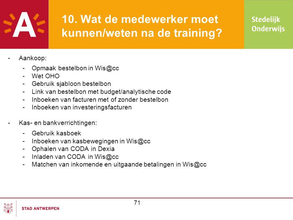 10. Wat de medewerker moet kunnen/weten na de training? -Aankoop: -Opmaak bestelbon in Wis@cc -Wet OHO -Gebruik sjabloon bestelbon -Link van bestelbon