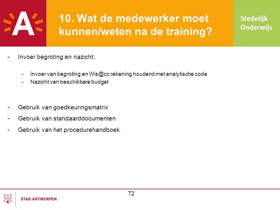 10. Wat de medewerker moet kunnen/weten na de training? -Invoer begroting en nazicht: -Invoer van begroting en Wis@cc rekening houdend met analytische