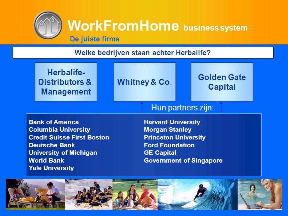 WorkFromHome business system Welke bedrijven staan achter Herbalife? Herbalife- Distributors & Management Whitney & Co. Golden Gate Capital Bank of Am